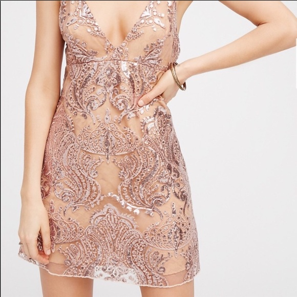 0af285490e8b Free People Dresses | Nwt Gold Sequin Damask Cocktail Dress | Poshmark